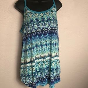 French Laundry Tops - French Laundry Blue Printed Tank Plus 3X